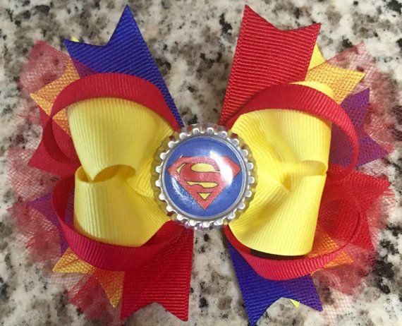 Superman hair bow superman superhero hair bow girls superhero