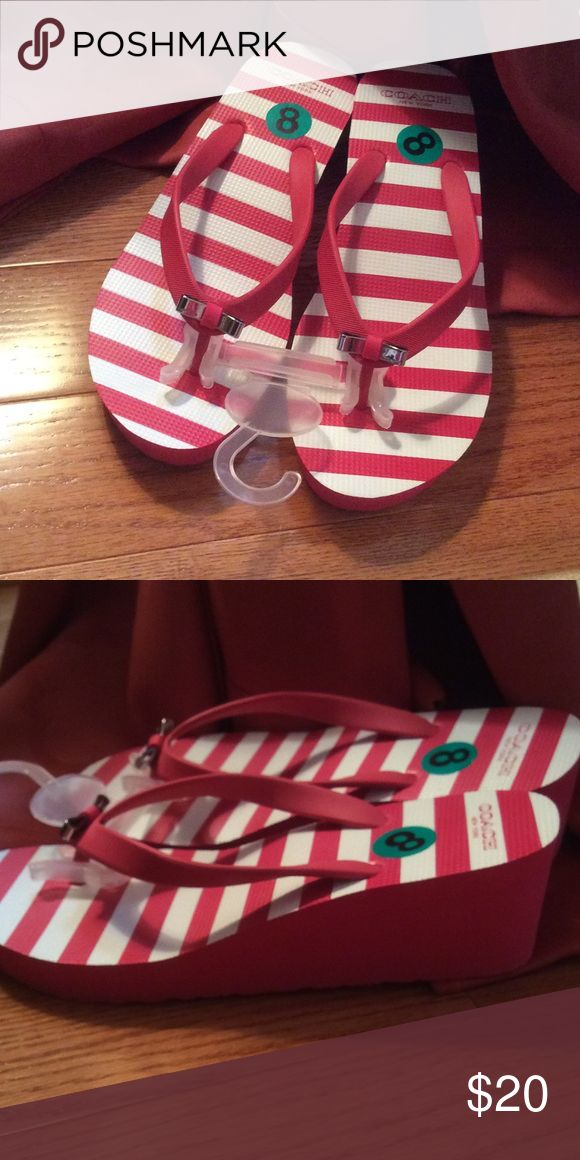 New Coach wedge flip flops Red and white wedge flip flops Coach Shoes Wedges