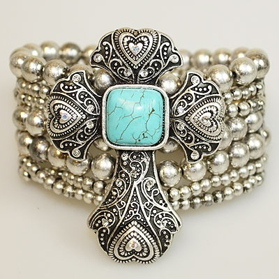 Silver Cross/Heart Turquoise Stone Stretchy Bracelet <3