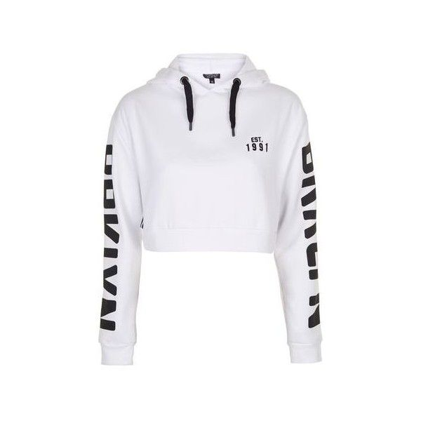 TopShop Brooklyn Sports Hoodie ($42) ❤ liked on Polyvore featuring tops, hoodies, white, white hoodies, sports hoodie, sport hoodies, sport top and sweatshirt hoodies