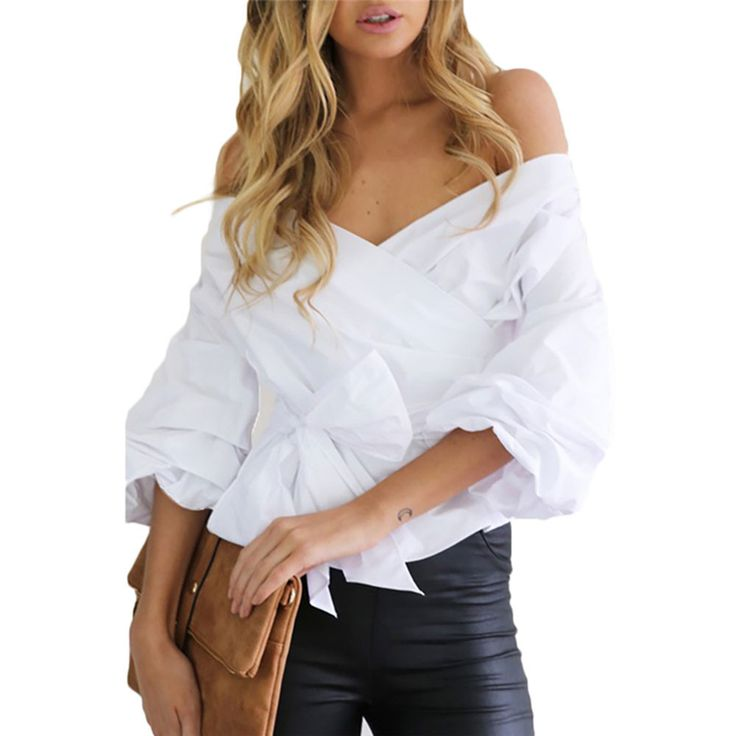 Charlee Cooper Puff Sleeve Off Shoulder Cross V Neck Bow Tie Blouse