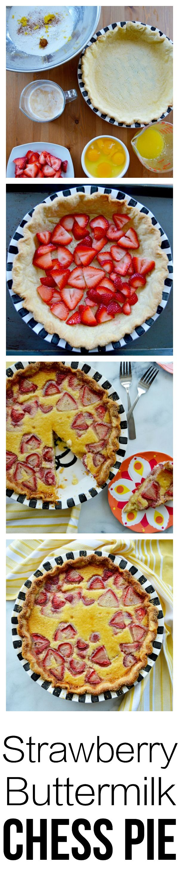 An modern take on a southern classic. Chess pies are often referred to as 'pantry pies' because the ingredients are simple and usually already in your pantry. In this chess pie, I've added some buttermilk which provides richness but with a tang that balances the sweetness. The strawberries add a pop of color and the bright taste of summer.  There's a step-by-step tutorial so even beginner bakers can bake this pie! | thehungrytravelerblog.com