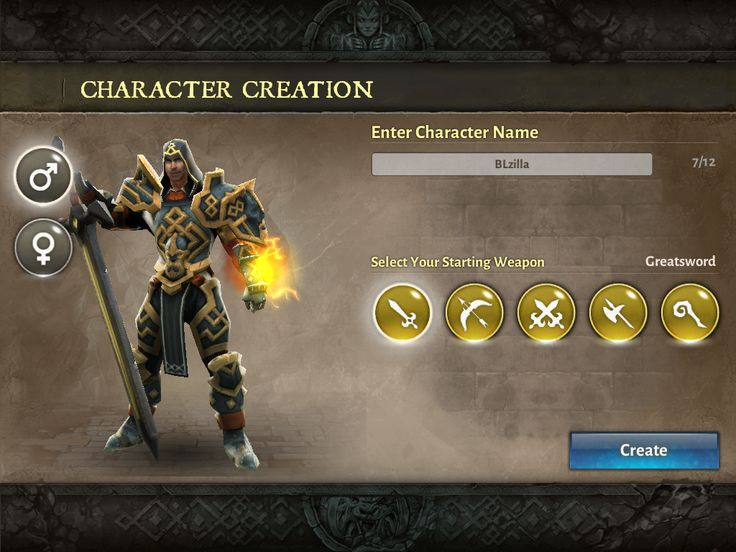 Dungeon Hunter 5 by GameLoft - Character Creation Screen - UI HUD User Interface Game Art GUI iOS Apps Games