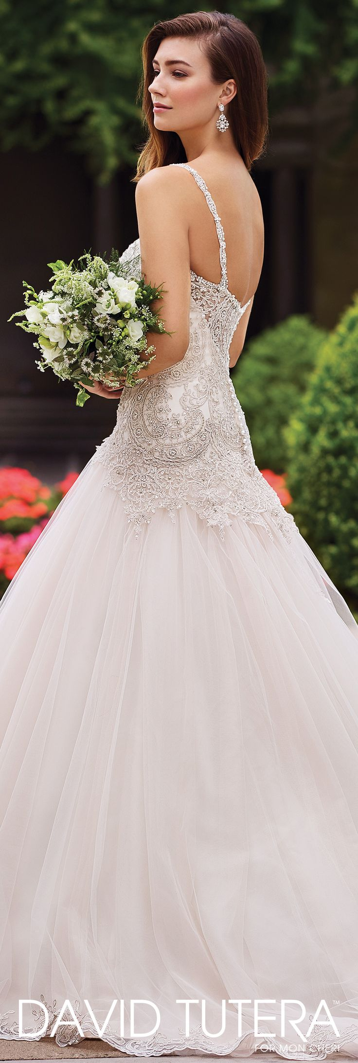 David Tutera for Mon Cheri Spring 2017 Collection - Style No. 117279 Carmelina - sleeveless metallic lace and tulle A-line wedding dress in Ivory/Stone