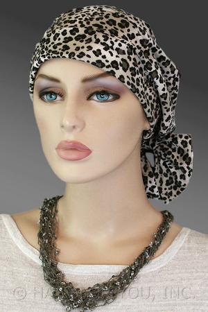 $18.50 - Leopard Print Two Way Cap #cancer #chemo #hairloss