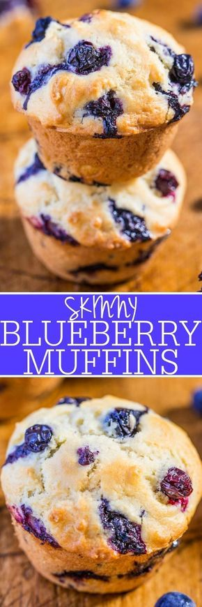 Skinny Blueberry Muffins - No butter and very low sugar but you'll never notice!! Easy, no mixer, soft, fluffy, and bursting with blueberries in every bite!! #totalbodytransformation