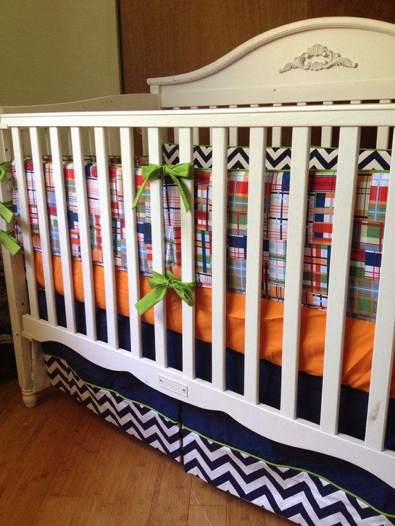 Chevron And Plaid Crib Bedding Boy Baby Nautical Nursery Decor Pleated Skirt Pers Cotton Sheet Set