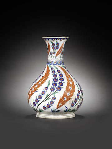 A rare, large Iznik pottery Water Bottle (surahi) Turkey, circa 1575