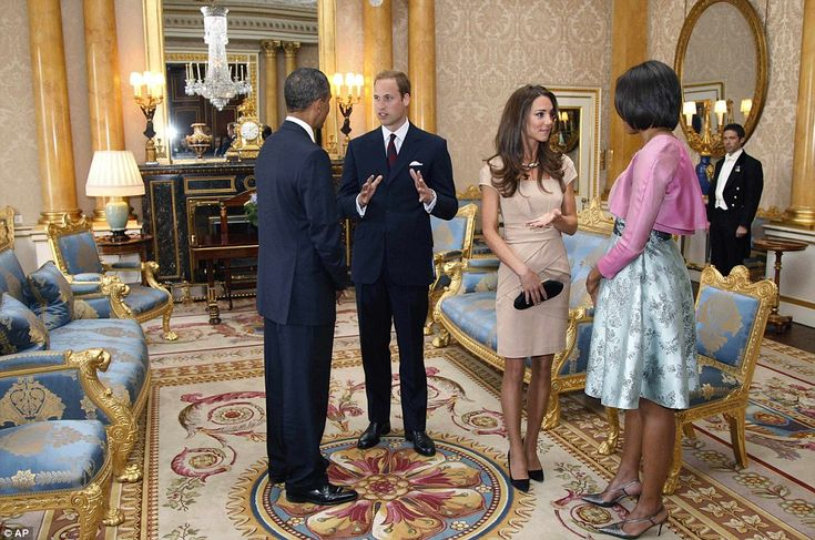 Warm meeting: The Duke and Duchess of Cambridge spent 20 minutes with President Barack Obama and his wife ¿ twice as long as scheduled