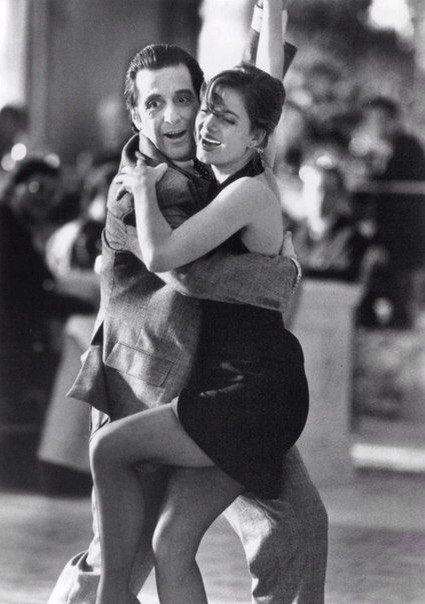 """Аль Пачино и Габриель Анвар на съёмках фильма """"Запах женщины"""", 1992 г."""