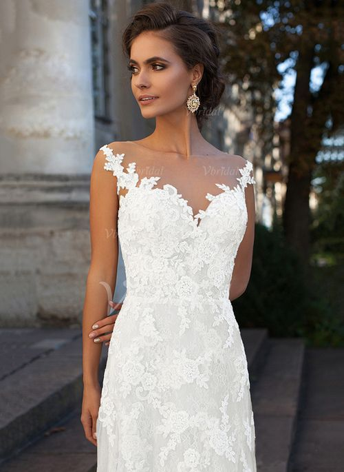 A-Line/Princess V-neck Court Train Lace Appliques Lace Lace Zipper Up Regular Straps Sleeveless Church Beach Hall Garden / Outdoor General No Winter Spring Summer Fall Ivory White Wedding Dress