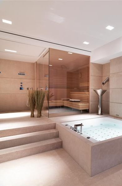 Private Spa and Sauna inside the Villa Chameleon in Mallorca - I wouldn't mind a bathroom like this in my home! #luxurybathrooms #maisonvalentina www.maisonvalentina.net