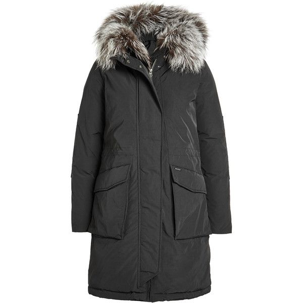 Woolrich Military Down Parka (93.445 RUB) ❤ liked on Polyvore featuring outerwear, coats, black, military style parka, down parka jacket, military inspired coat, woolrich coats and woolrich