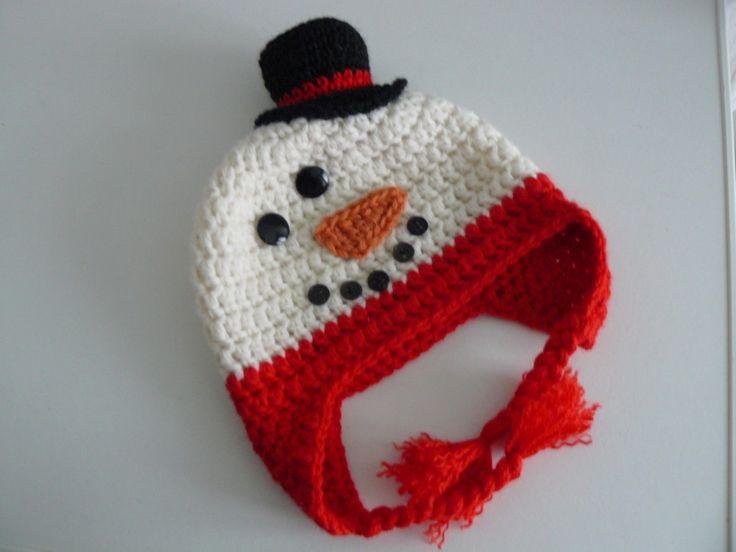 #Pupazzo di neve - #natale berretta, #cappello, #cuffia fatto all'uncinetto per #neonati.