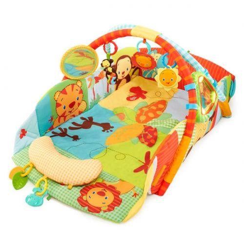 Bright Starts Manta de #juegos Safari Play place. Area de Juego para #bebé con protectores laterales, utilizable desde el primer día. Muy segura y con todo lo necesario para estimularle sensorialmente.