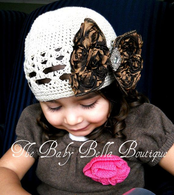 Vintageshabby Baby Girl Hat with brown by TheBabyBellaBoutique, $16.99