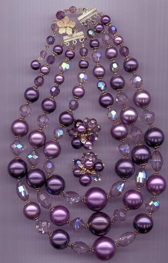 Vendome chunky 3-strand vintage necklace and earring set - lucite and crystal in shades of purple.  Via RNEVE on Etsy.