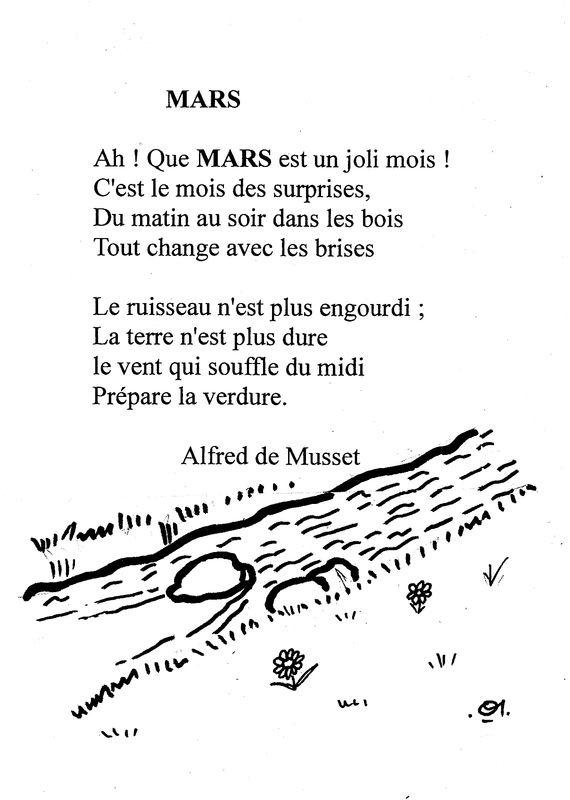 comptine de MARS en noir et blanc