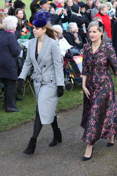 Princess Beatrice and Sophie, Countess of Wessex attend Christmas Day Church service at Church of St Mary Magdalene on December 25, 2017 in King's Lynn, England.
