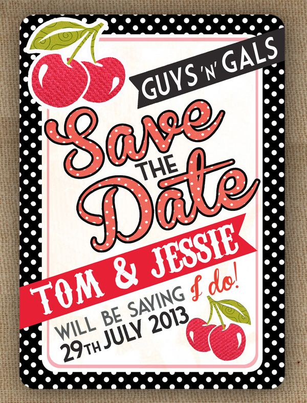 Motown 1950s Cherry Red White Black Polka Dot Diner Style Vintage Save The  Date By In