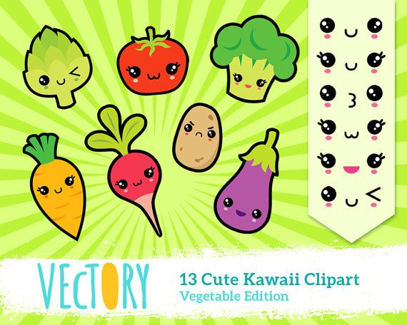 13 Kawaii Vegetable Clipart, Kawaii Healthy Food Clipart ...