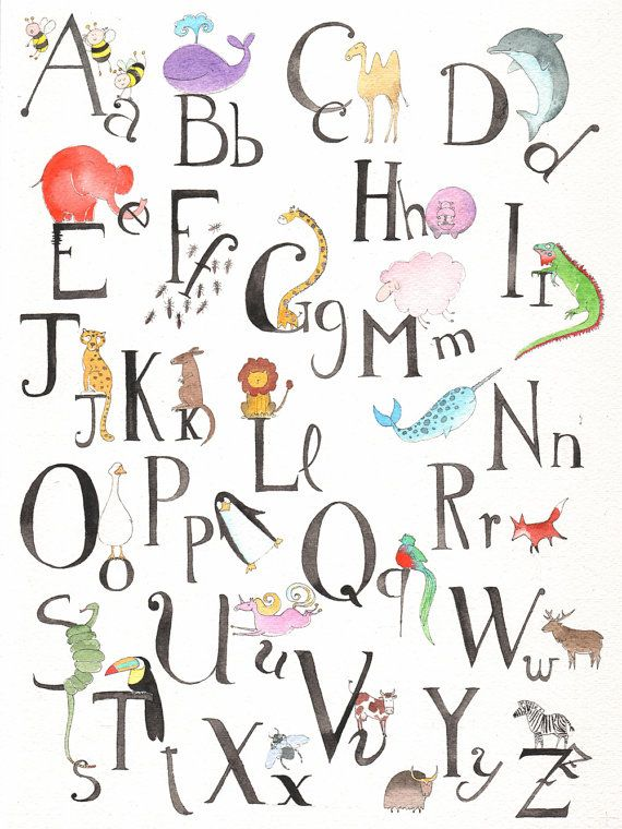 Alphabet illustrated with animals - French version - Print of my original watercolor