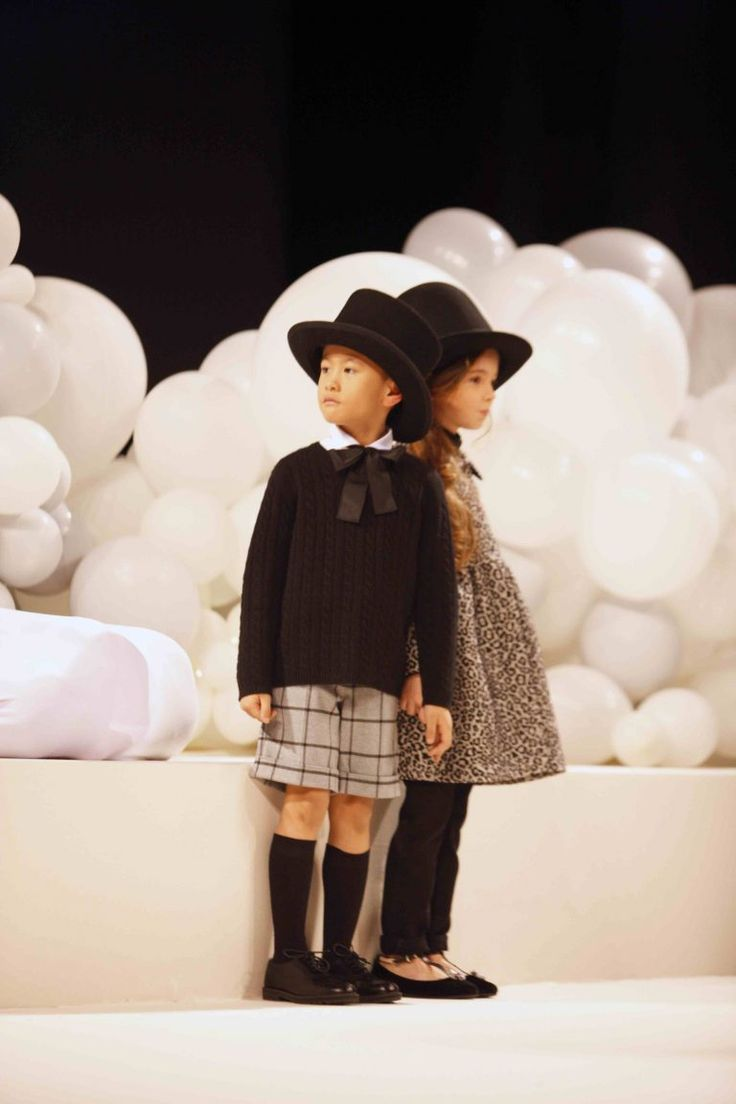Sweet monochrome kids fashion from Il Gufo for autumn 2017 shown in Florence