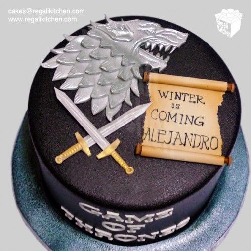 Game of Thrones Cake_Stark Cake_Stark House Sigil_Swords_Scroll_Geek_Geeky_Black_Silver_Winter is Coming_Direwolf