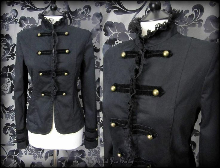 Victorian Gothic Black High Neck Frill Lace Jacket 8 10 S Steampunk Military | THE WILTED ROSE GARDEN