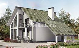 170-009-Л Проект двухэтажного дома мансардный этаж, гараж, скромный домик из пеноблока