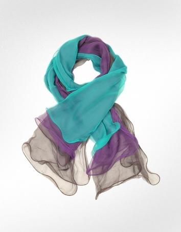 Enrico Coveri Ruffled Silk Stole