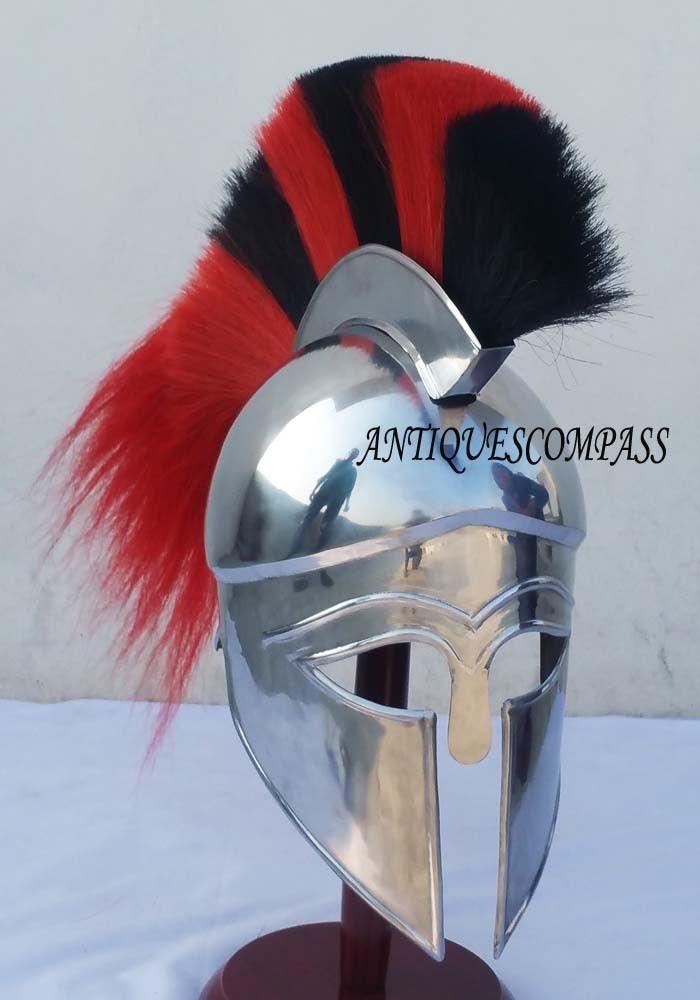 MEDIEVAL GREEK CORINTHIAN HELMET WITH BLACK & RED PLUME ROMAN GREEK SPARTAN HELM