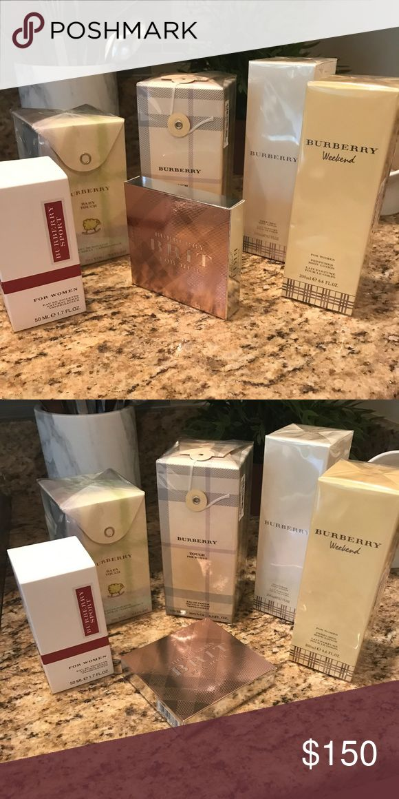 NEVER OPENED BURBERRY FRAGRANCES!! NEVER OPENED BURBERRY FRAGRANCES!!! None have been used- 2 are not in plastic but are boxed; the rest are in plastic. Includes: WEEKEND Body Lotion, 6.6 FLOZ; BURBERRY Signature scent Body Lotion, 6.7 FLOZ; TOUCH FOR WOMEN Eau De Parfum, 3.3 FLOZ; BABY TOUCH Eau De Toilette, 3.3 FLOZ; SPORT FOR WOMEN Eau De Toilette, 1.7 FLOZ; BRIT FOR HER Eau De Parfum Roll-on Set of Three (Brit Sheer, Brit For Her, & Brit Rhythm). Price reflects entire lot but will sell…