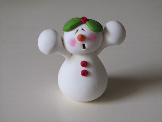 Polymer Clay Snowman Couple by ClayPeeps on Etsy