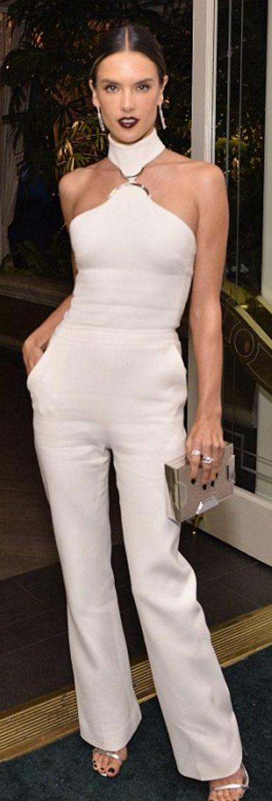 Alessandra Ambrosio in Jumpsuit – David Koma  Shoes – Giuseppe Zanotti  Purse – Lee Savage  Earrings – Dana Rebecca