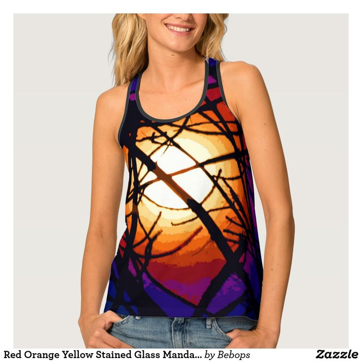 Red Orange Yellow Stained Glass Mandala Tank Top