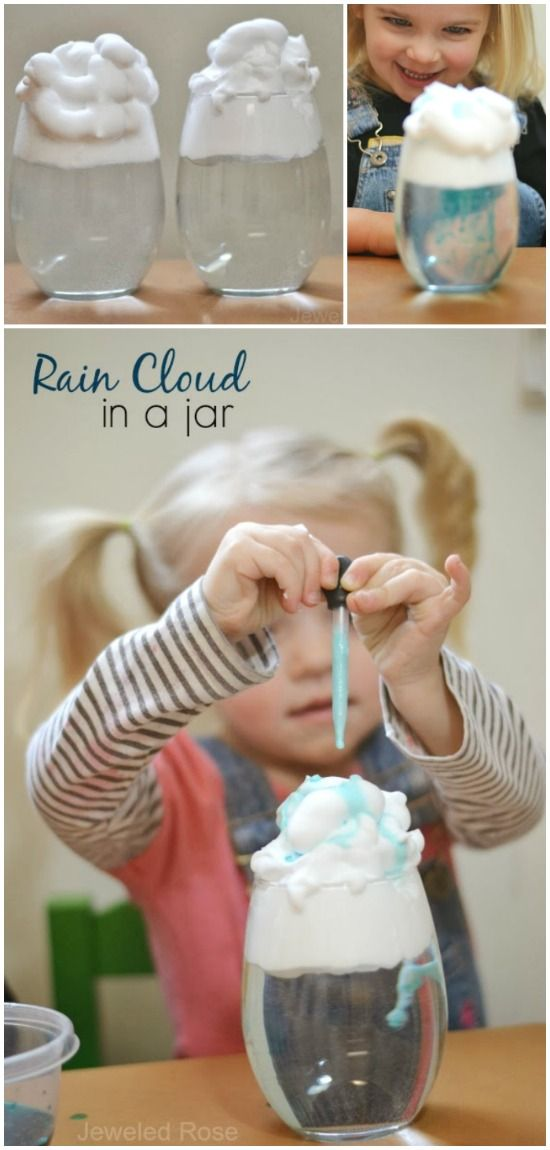 Rain clouds in a Jar:  Teach kids all about rain with this easy & fun experiment