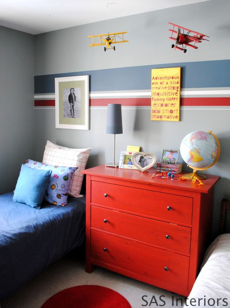 Boys Room with tutorial on how to paint stripes on the wall. I really like this wall color with the navy and red!!