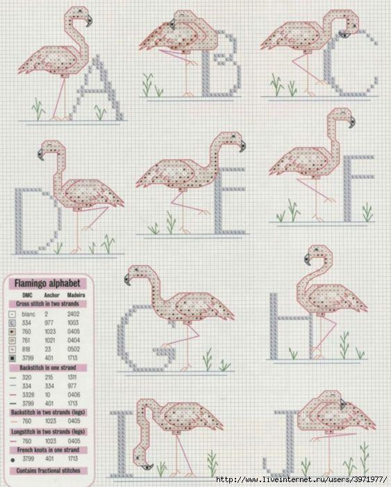 Flamingo Alphabet ~ Cross Stitch Crazy April 2004 ( issue #58 )