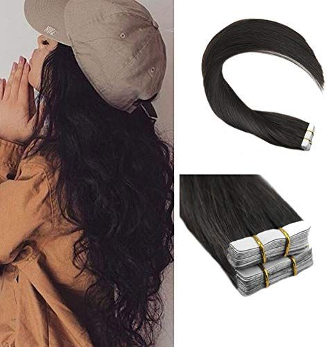 Amazing offer on Ugeat 24inch Tape Black Hair Skin Weft Tape Real Remy Human Hair Extensions Straight Hair 40pcs 100g Seamless Tape Hair Extensions online