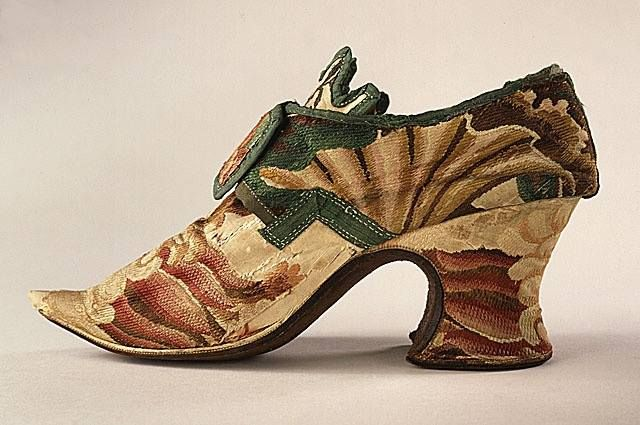 England Pair of Woman's Shoes, circa 1720's. Costume/clothing accessory/footwear, Brocaded silk, leather, linen, kid, 4 x 9 in. (10.16 x 22.86 cm) each.