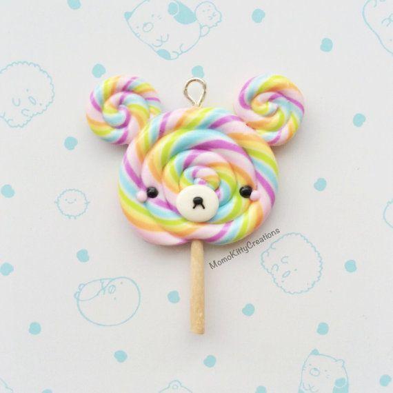 Bear Lollipop Necklace, Food Jewelry, Kawaii Polymer Clay Charm, Fairy Kei