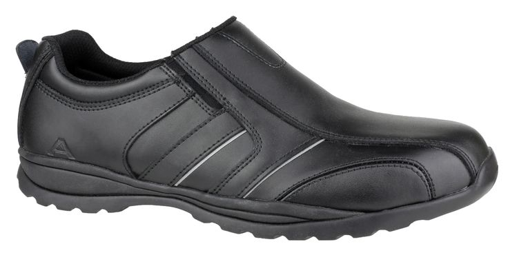 Amblers Safety FS63. City-look casual slip-on safety shoe with steel toe and midsole protection. Smooth action leather upper with vertical side stripes and reflective highlights. Stylish contrast stitching accents and slick two tone tinted sole stripe. Temperature resistant rubber outsole. For more information or other safety shoes for men visit http://www.amblerssafety.com/shoe/fs63/
