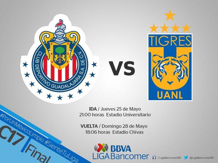 ANUNCIAN HORARIOS PARA LA FINAL ENTRE CHIVAS Y TIGRES La Liga MX dio a conocer la hora y los días en los que se disputarán los duelos por el título del Clausura 2017.