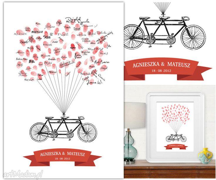 Tandem wpisów gości weselnych ślub kreatywne wesele rower księga