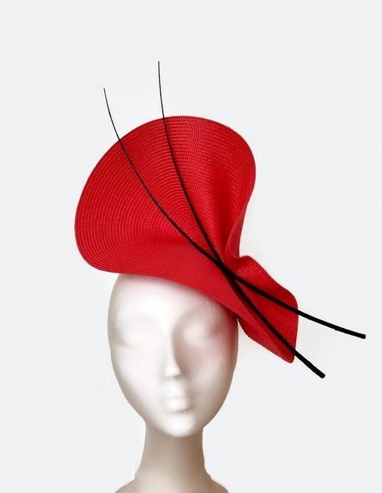 Black and red fascinator kentucky derby hat black and by Tocchic