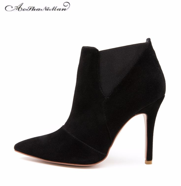 Spring Autumn Woman Shoes Cow suede Shoes High Heels sexy party Pumps Fashion Women's pointed toe thin heel ankle boots 34-41