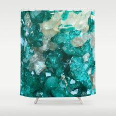 Teal Rock Candy Quartz Shower Curtain #agate #quartz #rocks #minerals #crystals #prettystuff #hygge