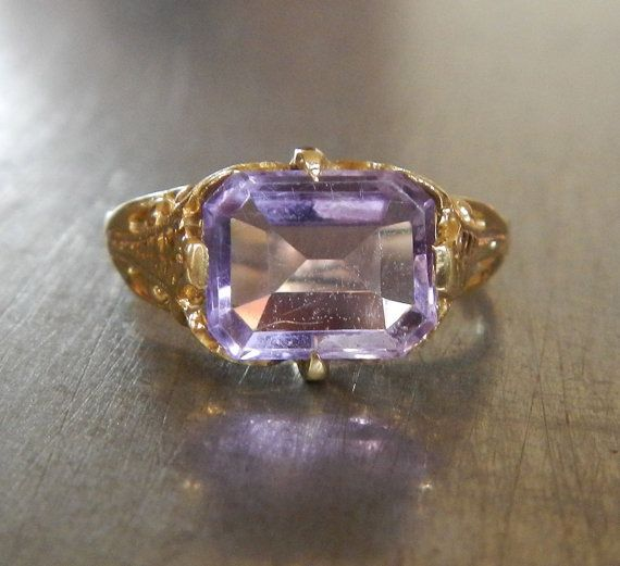 Antique Amethyst and Gold Ring by AntiqueSparkle on Etsy, $385.00