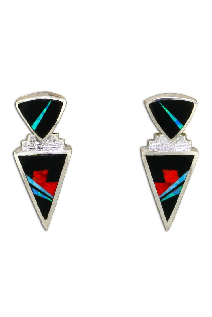 David Rosales Inlaid Red Moon Earrings Black Jade, Red Created Opal, And  Blue